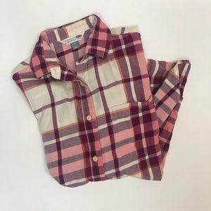 Women's Old Navy Boyfriend Shirt Pink Flannel